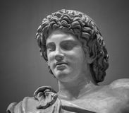 Head and shoulders detail of the ancient sculpture Royalty Free Stock Images