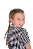 Head and shoulders portrait of cute girl in braids royalty free stock image