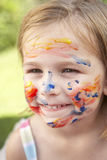 Head And Shoulders Portrait Of Girl With Painted Face Royalty Free Stock Image