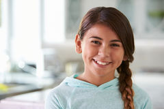 Head And Shoulders Portrait Of Hispanic Girl At Home Royalty Free Stock Images