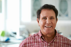 Head And Shoulders Portrait Of Senior Hispanic Man At Home stock photos