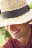 Head And Shoulders Portrait Of Smiling Man With Sun Hat Royalty Free Stock Images