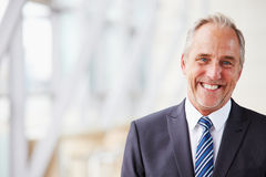 Head and shoulders portrait of smiling senior businessman Royalty Free Stock Image