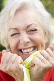 Head And Shoulders Portrait Of Smiling Senior Woman Royalty Free Stock Photos