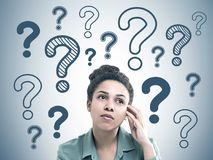 Pensive young African American woman question mark Royalty Free Stock Photo