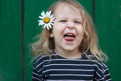 Head and shoulders portrait of two years old grimacing blonde girl with chamomile flower in her hair Stock Images