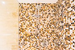 Head shower bath. Decoration in bathroom interior stock images