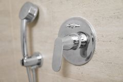 Head of shower in the bathroom close up. Head of shower in the bathroom close up stock photography
