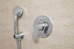 Head of shower in the bathroom close up. Head of shower in the bathroom close up stock photo