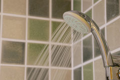 Head shower while running water Stock Image