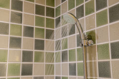 Head shower while running water Royalty Free Stock Images