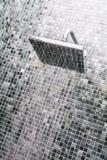 Head shower with water drop. In bathroom interior stock photos