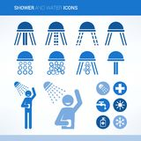 Head showers. Set with different spray patterns, water stick figure showering and water icons set Stock Photos