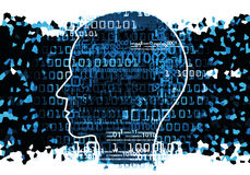Head silhouette with binary codes. Human Head silhouette with binary codes. Concept for information technology.  Illustration Stock Photography
