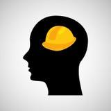 Head silhouette black icon helmet construction Royalty Free Stock Photo
