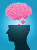 Head silhouette brain thought Royalty Free Stock Image