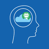 Head silhouette cloud microphone music Royalty Free Stock Image