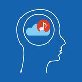 Head silhouette cloud music Stock Images