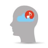 Head silhouette cloud music Stock Photo