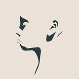 Head silhouette. Face profile view. Royalty Free Stock Photo
