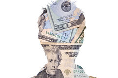 Head silhouette figure with cash stock photography