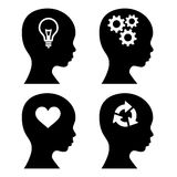 Head Silhouette with Idea Icons Set. Vector Stock Image