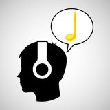 Head silhouette listening music black note Royalty Free Stock Images