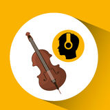 Head silhouette listening music fiddle. Vector illustration eps 10 Stock Image