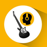 Head silhouette listening music guitar electric. Vector illustration eps 10 Stock Photo