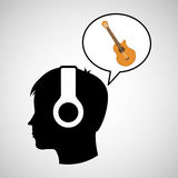 Head silhouette listening music guitar Royalty Free Stock Image