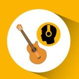 Head silhouette listening music guitar Stock Image
