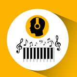 Head silhouette listening music piano Stock Photography