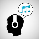 Head silhouette listening music quaver Stock Image