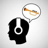 Head silhouette listening music trumpet Stock Images