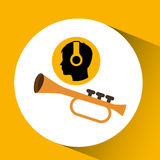 Head silhouette listening music trumpet Royalty Free Stock Images