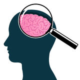 Head silhouette with magnifying glass Royalty Free Stock Photography
