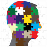 Head silhouette from puzzle Stock Images