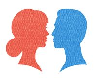 Head silhouette. S of man and woman vector illustration stock illustration
