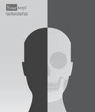 Head silhouette with skeleton Royalty Free Stock Image