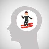 Head silhouette surfer extreme sport Royalty Free Stock Photography
