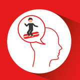 Head silhouette surfer extreme sport Royalty Free Stock Photos