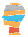 Head silhouette with torn paper Royalty Free Stock Images