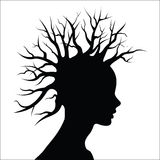 Head silhouette with  tree as hair  Stock Photo