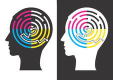 Head silhouettes with Labyrinth of print colors Royalty Free Stock Images