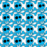 Head skeletons seamless pattern. Big skulls water blue pattern background Stock Photos