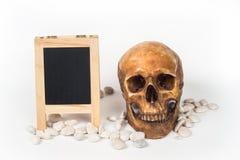 Head skull black board Royalty Free Stock Photo