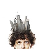 Head with skyscrapers Stock Photo