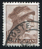 Head of the slave. ITALY - CIRCA 1961: stamp printed by Italy, shows Designs from Sistine Chapel by Michelangelo, Head of the slave, circa 1961 Royalty Free Stock Photography