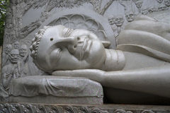 The head of the sleeping Buddha. Nha Trang, Vietnam. The head of the sleeping Buddha. The Long Son pagoda in Nha Trang, Vietnam stock photography