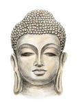 Head Smiling Buddha. Hand drawn Isolated Buddha head, which is in deep meditation executed in watercolor Royalty Free Stock Image
